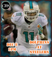Miami Dolphins at Pittsburgh Steelers. Dec 8 at 1pm.
