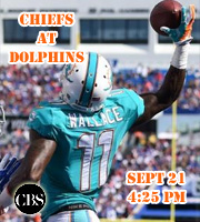 Chiefs at Dolphins, Sept 21 @ 4:25 pm.