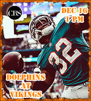 Next Game - Dolphins at Vikings, 12/16 @ 1 pm on CBS.