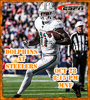 2019 Week 7: Miami Dolphins at Pittsburgh Steelers, MNF (8:15 PM EST)