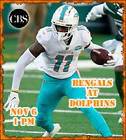 Week 13: Cincinnati Bengals at Miami Dolphins, 1 pm on CBS